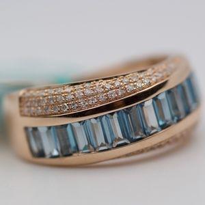 EFFY 14k Rose Gold Baguette Topaz Diamond Ring